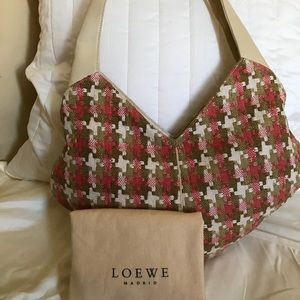 Loewe Vintage Wool & Leather Heart Shaped Bag